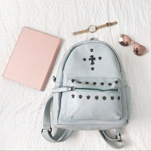 Light blue mini leather backpack